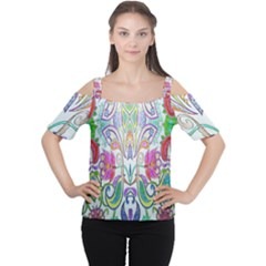 Wallpaper Created From Coloring Book Women s Cutout Shoulder Tee