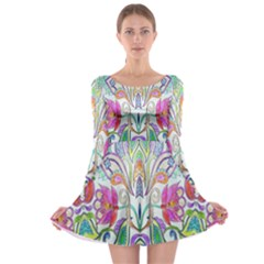 Wallpaper Created From Coloring Book Long Sleeve Skater Dress