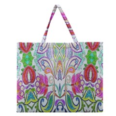 Wallpaper Created From Coloring Book Zipper Large Tote Bag