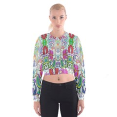 Wallpaper Created From Coloring Book Women s Cropped Sweatshirt