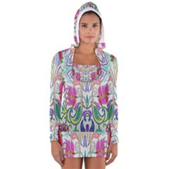 Wallpaper Created From Coloring Book Women s Long Sleeve Hooded T-shirt