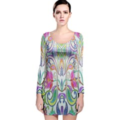 Wallpaper Created From Coloring Book Long Sleeve Velvet Bodycon Dress