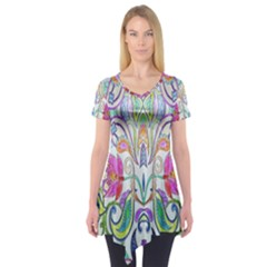 Wallpaper Created From Coloring Book Short Sleeve Tunic