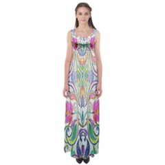 Wallpaper Created From Coloring Book Empire Waist Maxi Dress