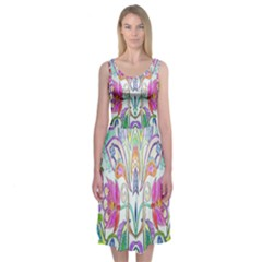 Wallpaper Created From Coloring Book Midi Sleeveless Dress