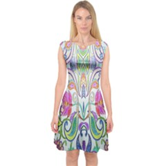 Wallpaper Created From Coloring Book Capsleeve Midi Dress