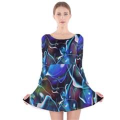 Water Is The Future Long Sleeve Velvet Skater Dress