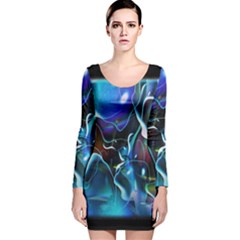 Water Is The Future Long Sleeve Velvet Bodycon Dress