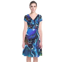 Water Is The Future Short Sleeve Front Wrap Dress