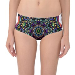 Mandala Abstract Geometric Art Mid Waist Bikini Bottoms