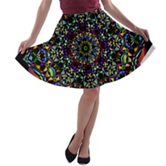 Mandala Abstract Geometric Art A Line Skater Skirt