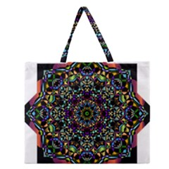 Mandala Abstract Geometric Art Zipper Large Tote Bag
