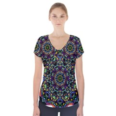 Mandala Abstract Geometric Art Short Sleeve Front Detail Top