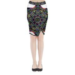 Mandala Abstract Geometric Art Midi Wrap Pencil Skirt