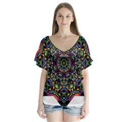 Mandala Abstract Geometric Art Flutter Sleeve Top