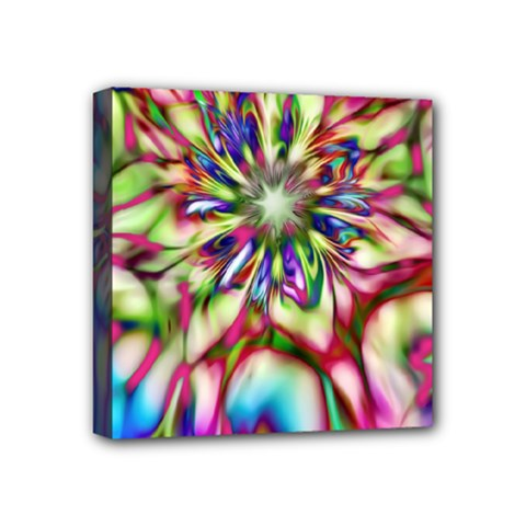 Magic Fractal Flower Multicolored Mini Canvas 4  x 4
