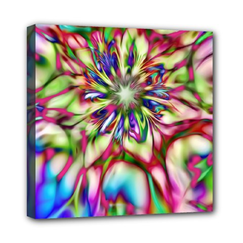 Magic Fractal Flower Multicolored Mini Canvas 8  x 8