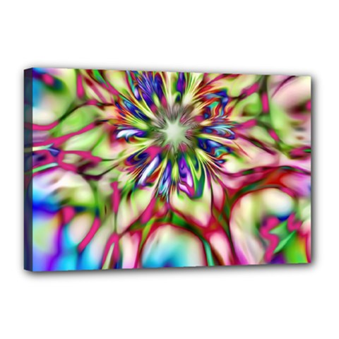 Magic Fractal Flower Multicolored Canvas 18  x 12