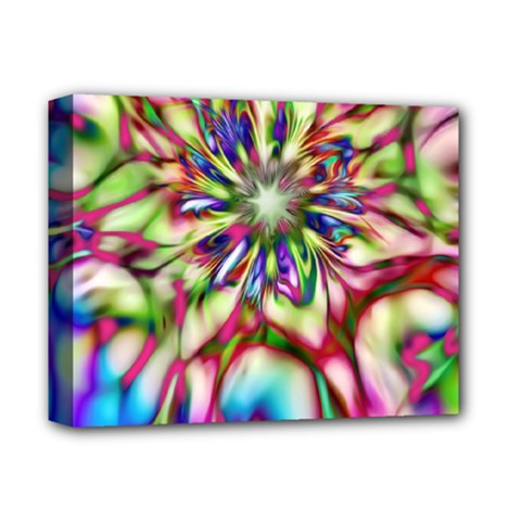 Magic Fractal Flower Multicolored Deluxe Canvas 14  x 11
