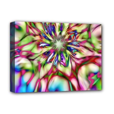 Magic Fractal Flower Multicolored Deluxe Canvas 16  x 12
