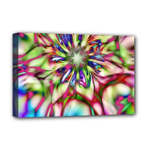 Magic Fractal Flower Multicolored Deluxe Canvas 18  x 12