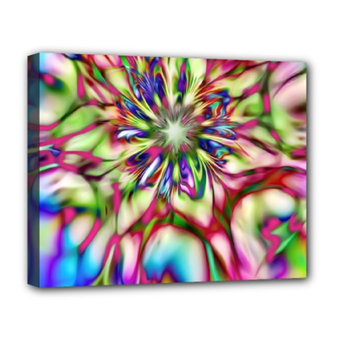 Magic Fractal Flower Multicolored Deluxe Canvas 20  x 16