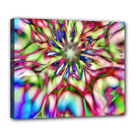Magic Fractal Flower Multicolored Deluxe Canvas 24  x 20