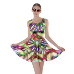 Magic Fractal Flower Multicolored Skater Dress