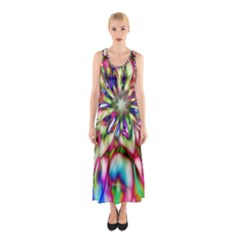 Magic Fractal Flower Multicolored Sleeveless Maxi Dress
