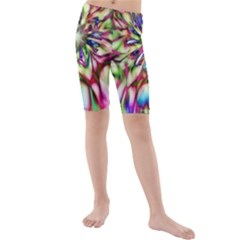 Magic Fractal Flower Multicolored Kids  Mid Length Swim Shorts