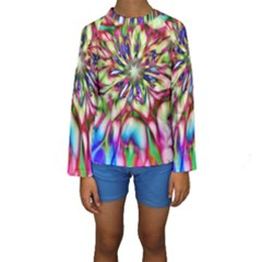 Magic Fractal Flower Multicolored Kids  Long Sleeve Swimwear