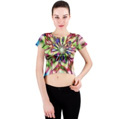 Magic Fractal Flower Multicolored Crew Neck Crop Top