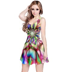 Magic Fractal Flower Multicolored Reversible Sleeveless Dress
