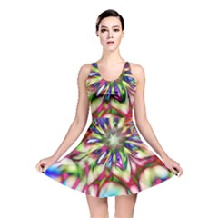 Magic Fractal Flower Multicolored Reversible Skater Dress