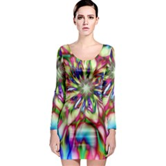Magic Fractal Flower Multicolored Long Sleeve Bodycon Dress