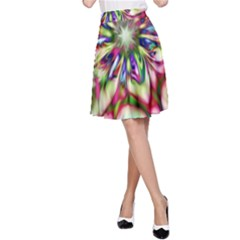 Magic Fractal Flower Multicolored A-Line Skirt