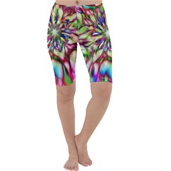 Magic Fractal Flower Multicolored Cropped Leggings