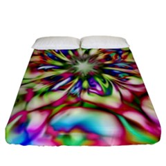 Magic Fractal Flower Multicolored Fitted Sheet (King Size)