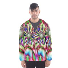 Magic Fractal Flower Multicolored Hooded Wind Breaker (Men)