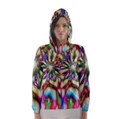 Magic Fractal Flower Multicolored Hooded Wind Breaker (Women)