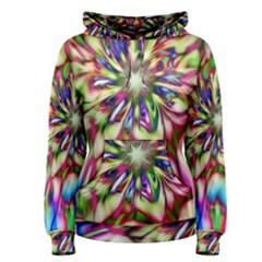 Magic Fractal Flower Multicolored Women s Pullover Hoodie