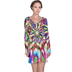 Magic Fractal Flower Multicolored Long Sleeve Nightdress