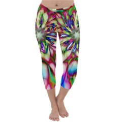 Magic Fractal Flower Multicolored Capri Winter Leggings