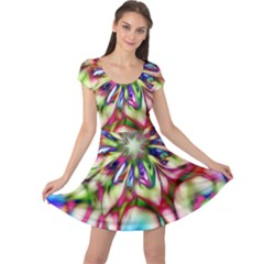 Magic Fractal Flower Multicolored Cap Sleeve Dresses