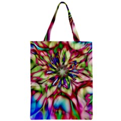 Magic Fractal Flower Multicolored Zipper Classic Tote Bag