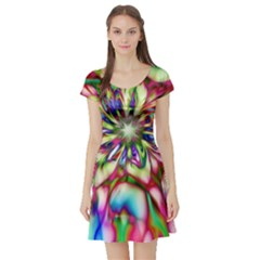 Magic Fractal Flower Multicolored Short Sleeve Skater Dress