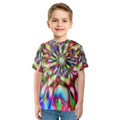 Magic Fractal Flower Multicolored Kids  Sport Mesh Tee
