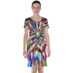 Magic Fractal Flower Multicolored Short Sleeve Nightdress