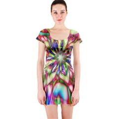 Magic Fractal Flower Multicolored Short Sleeve Bodycon Dress