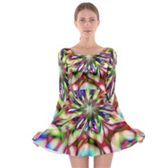 Magic Fractal Flower Multicolored Long Sleeve Skater Dress